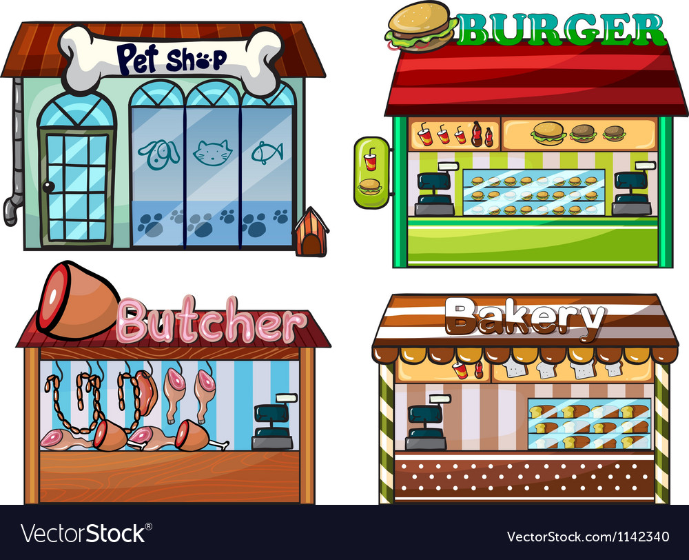 Petshop burger stand butcher shop and bakery vector