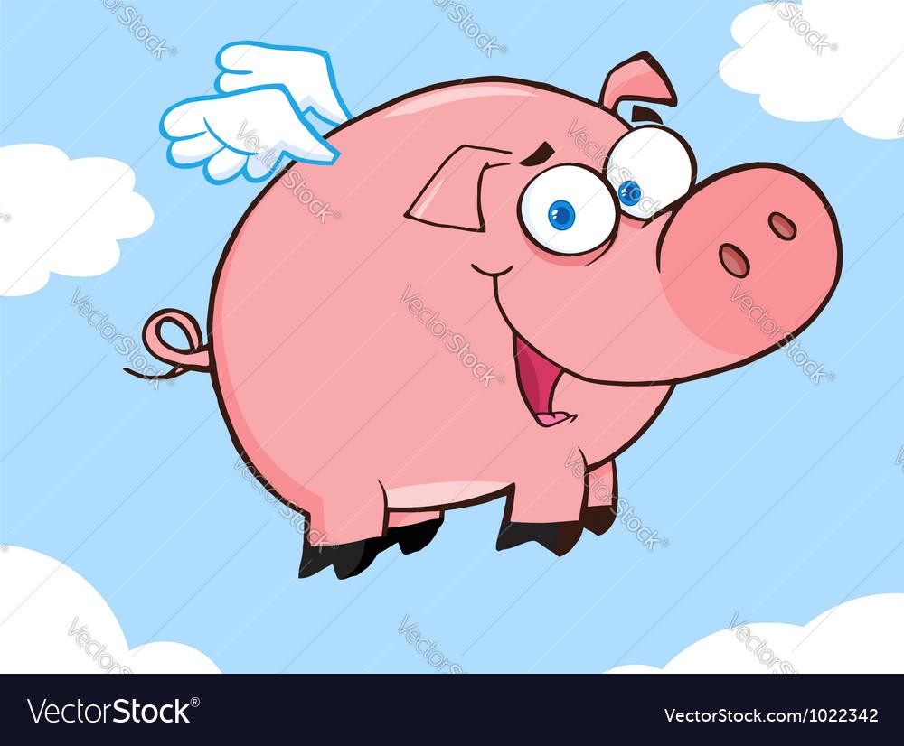 Happy pig flying in a sky vector