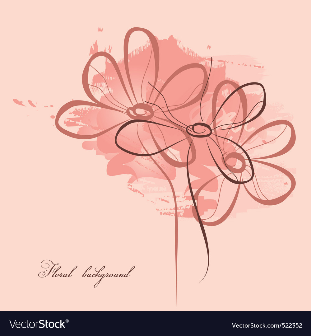 Pink floral painting vector