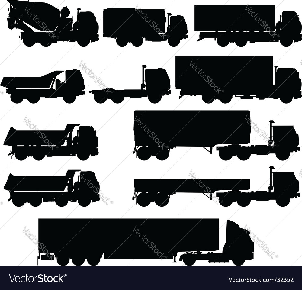 Truck silhouettes set vector