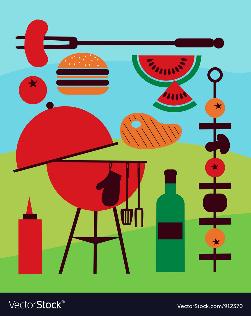Backyard barbecue scene vector
