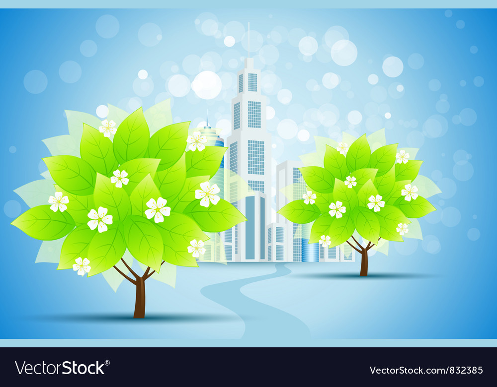 Blue background with business city and trees vector