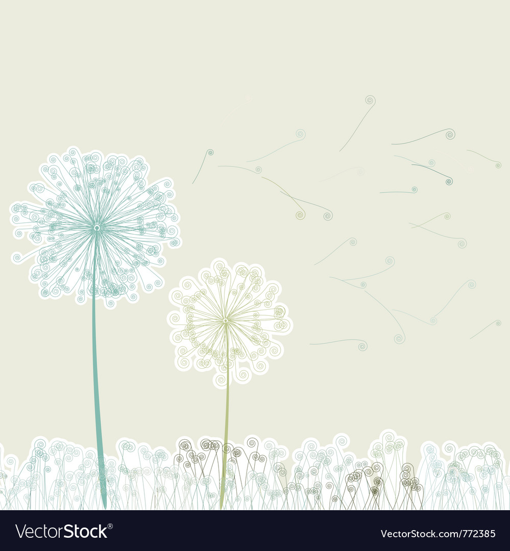 Vintage two dandelions vector