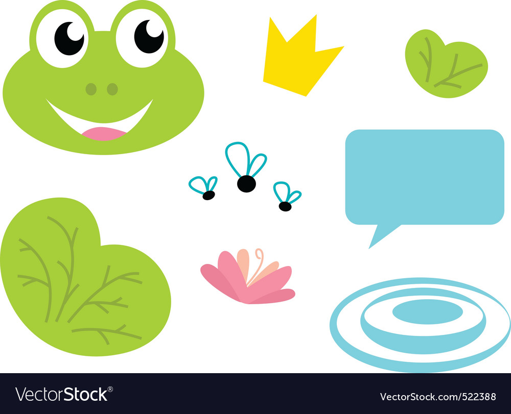 Cute frog queen icons set vector