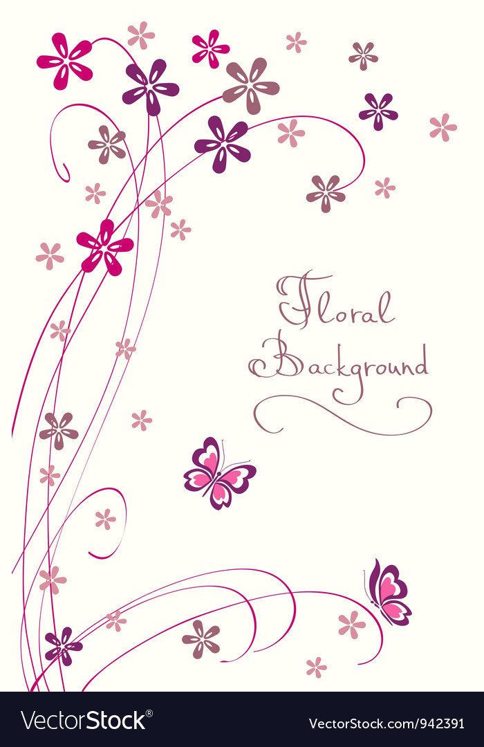 Cute floral background modern card vector