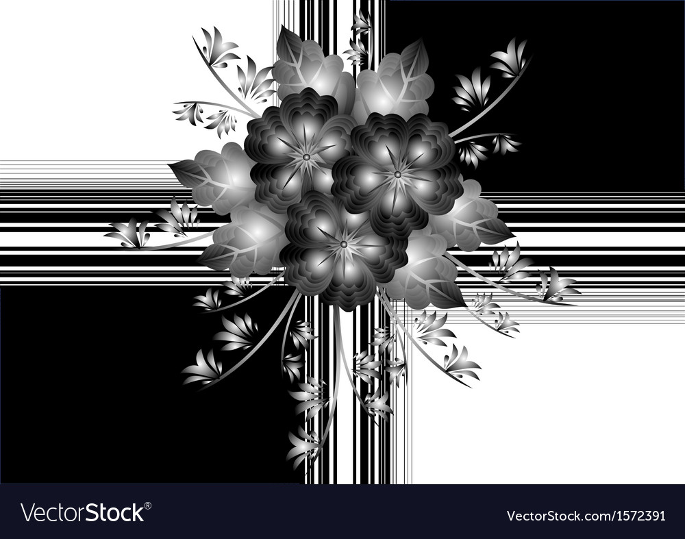 Gift wrapping with abstract flowers vector