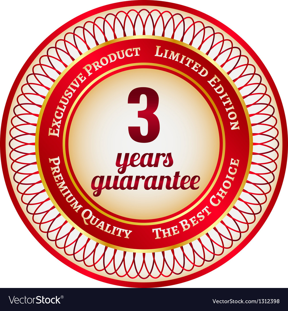 Label on 3 year guarantee vector