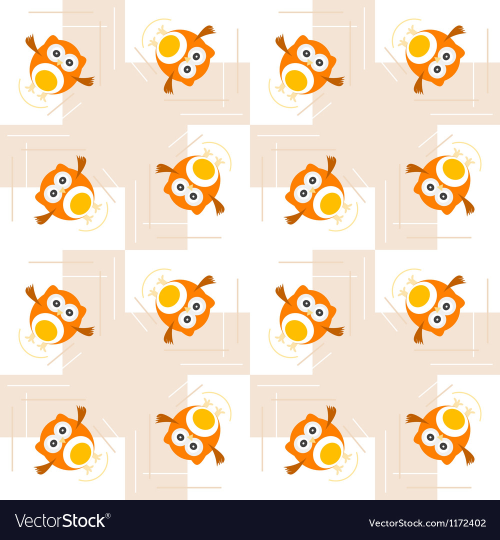 Seamless orange owl pattern for kids vector