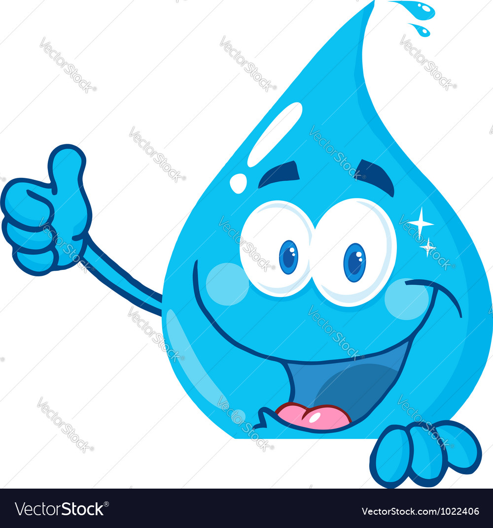Water drop showing thumbs up vector