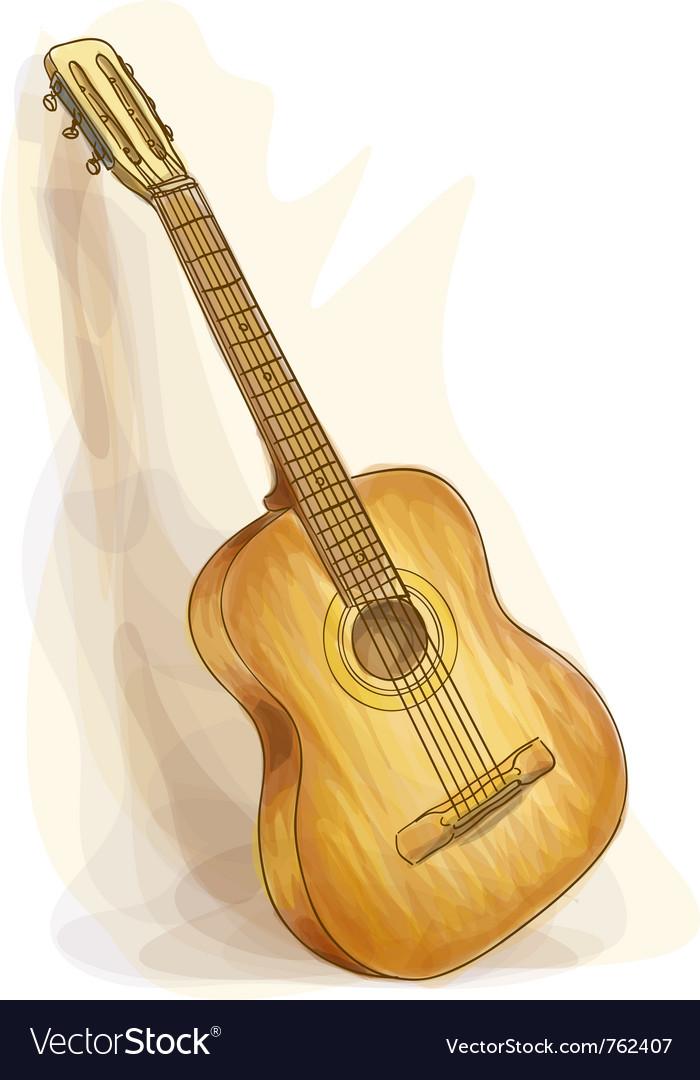 Guitar watercolor style vector