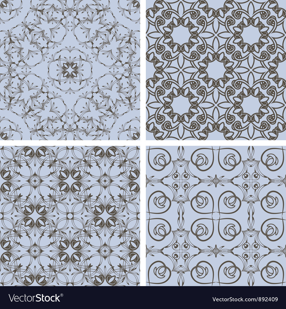 Seamless floral patterns vector