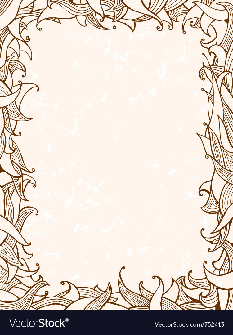 Doodles frame with leaves vector