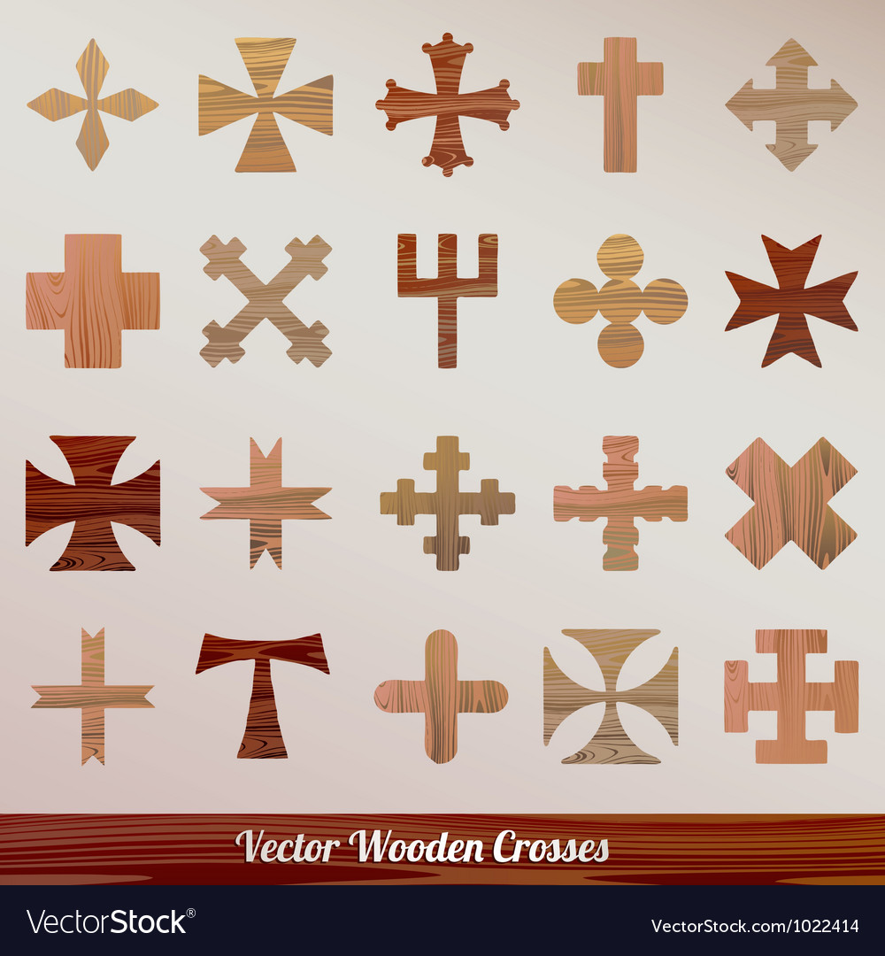 Set crosses wooden vector