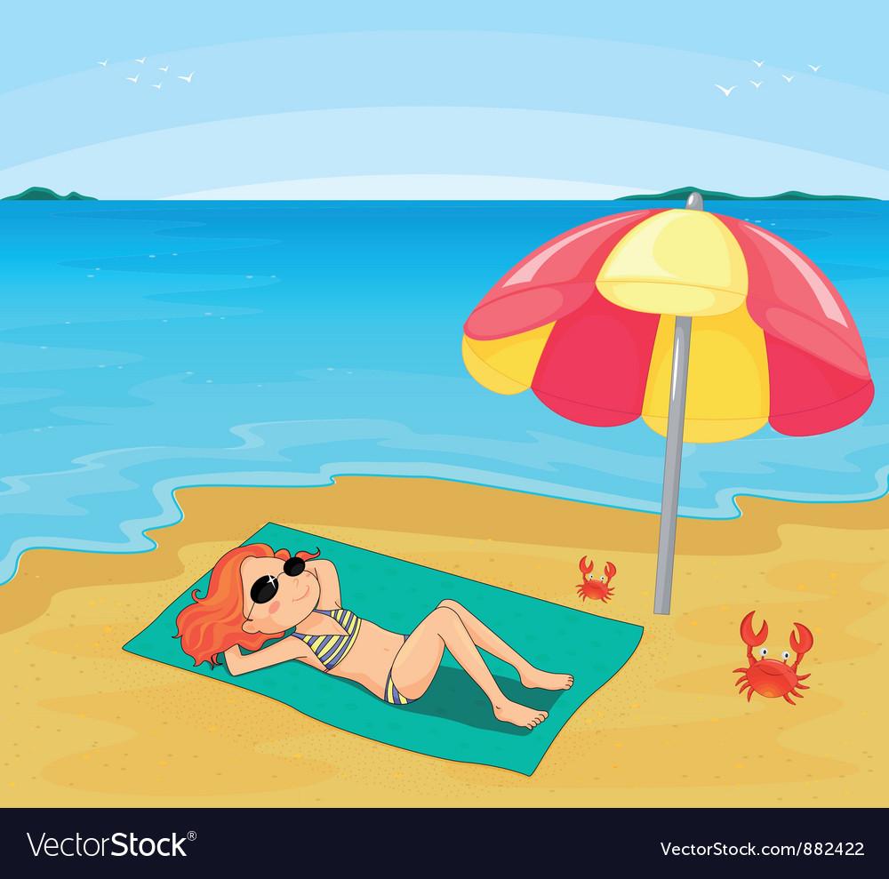 Girl sunbathing vector