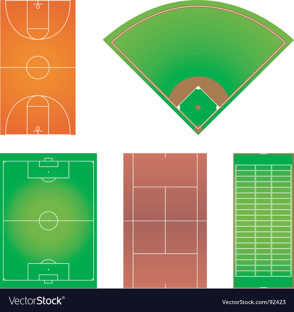 Five popular sport field layouts vector