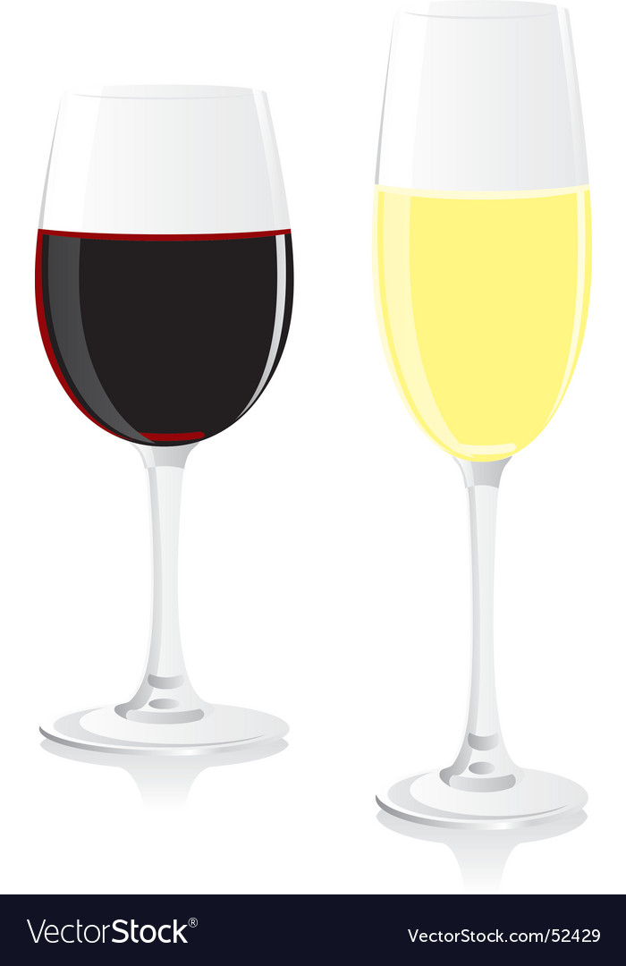 Wine and champagne glasses vector