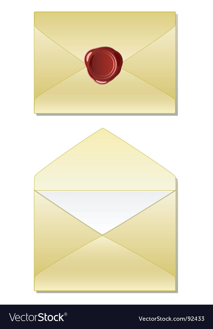 Old envelope with wax seal vector