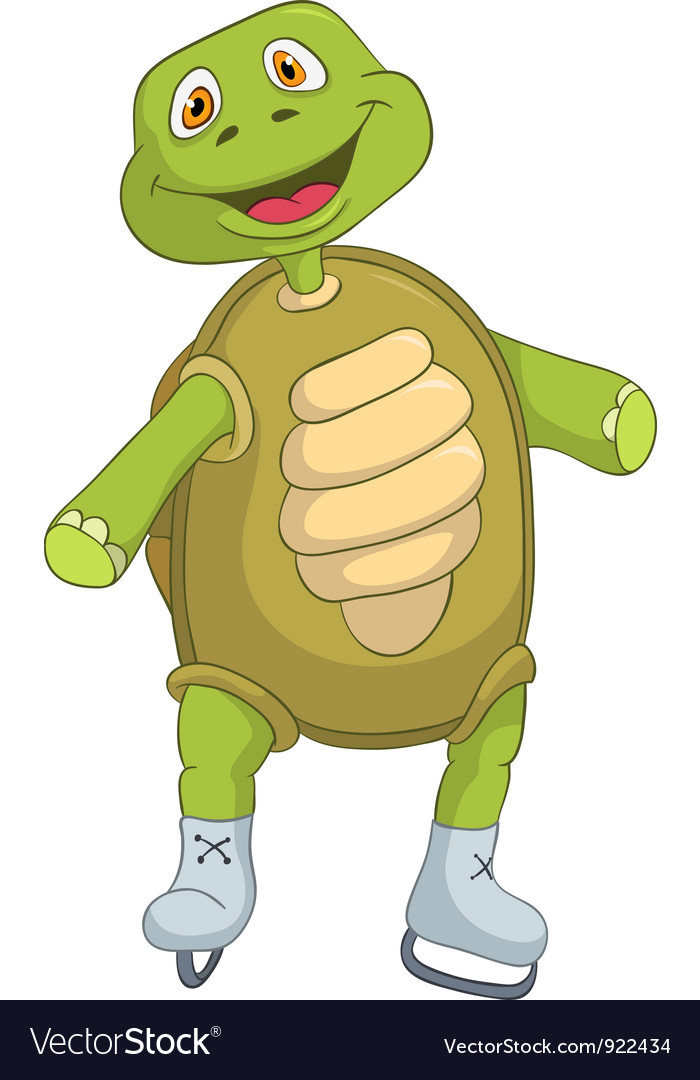 Funny turtle skater vector