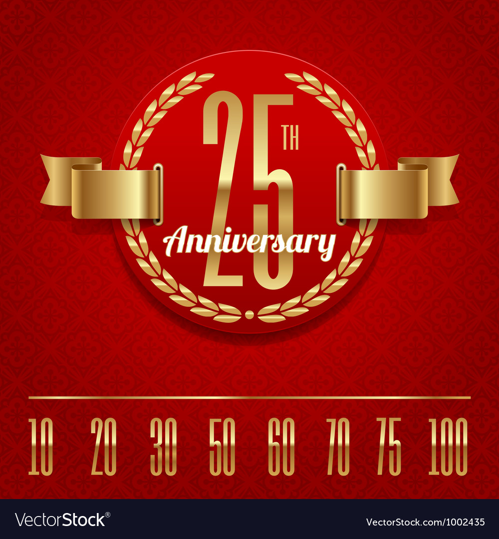 Decorative anniversary golden emblem - vector