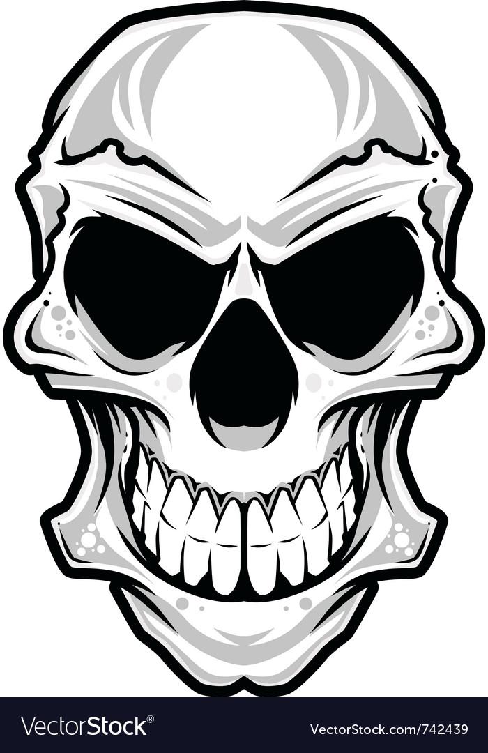 White angry skull vector