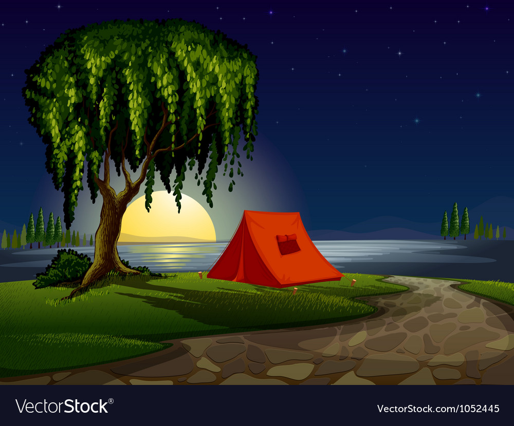 Camping scene background vector