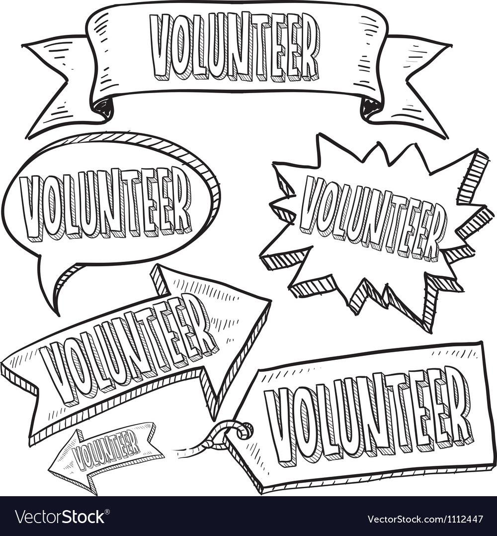 Doodle label tag banner volunteer vector