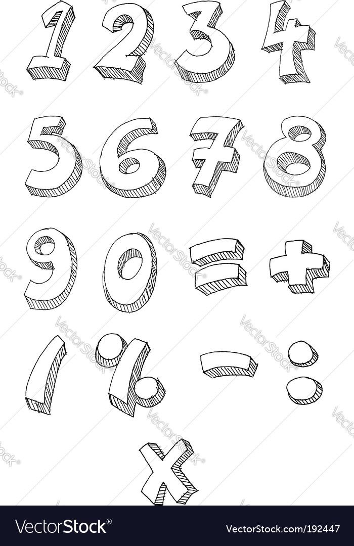 Numbers hand written vector
