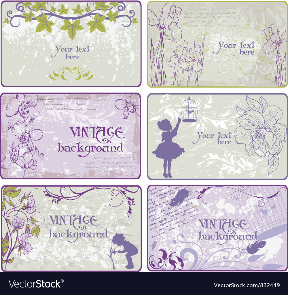 Set of vintage backgrounds vector