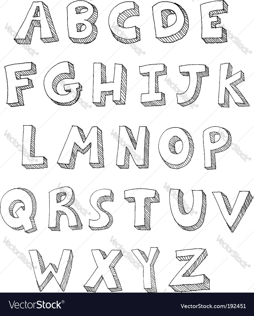 Letters hand written vector
