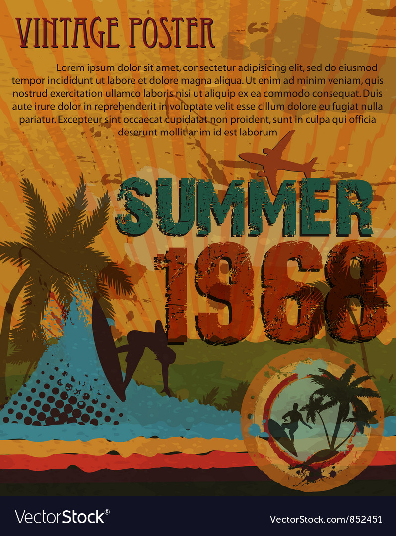 Retro grunge summer poster vector