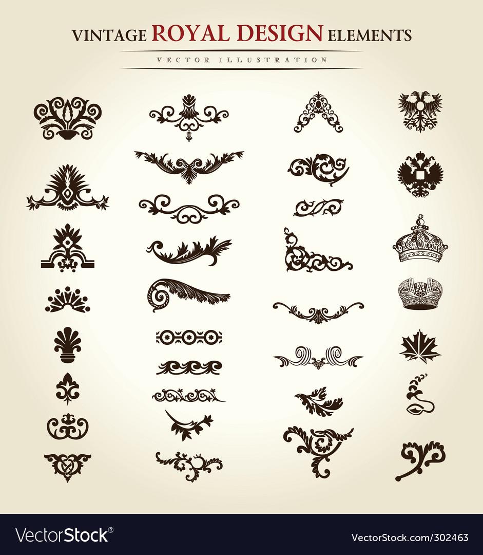 Flower vintage royal design element vector