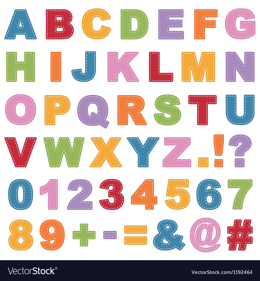 Stitched alphabet vector