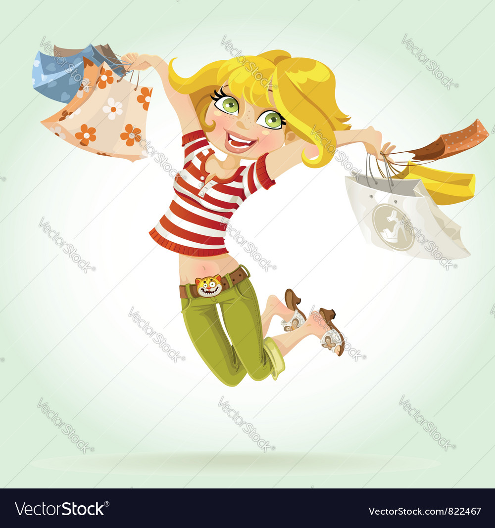Sweet girl shopaholic vector