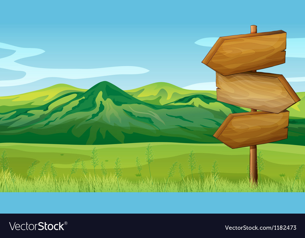 Mountain wooden signboards vector