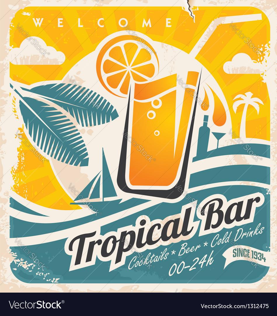 Retro poster template for tropical bar vector