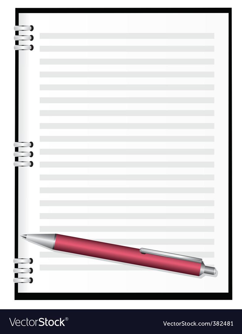 Notebook with red pen vector by firedark - Image #382481 - VectorStock