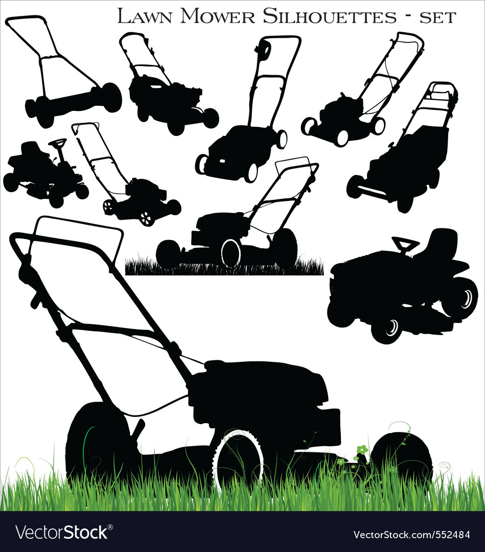 Lawn mower set vector