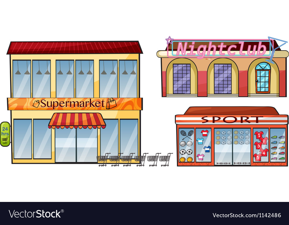 A supermarket night club and sport shop vector