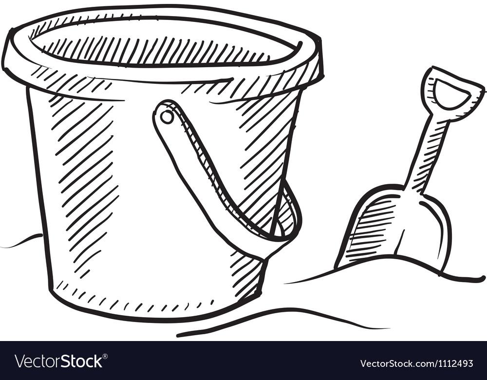 Doodle beach bucket shovel vector