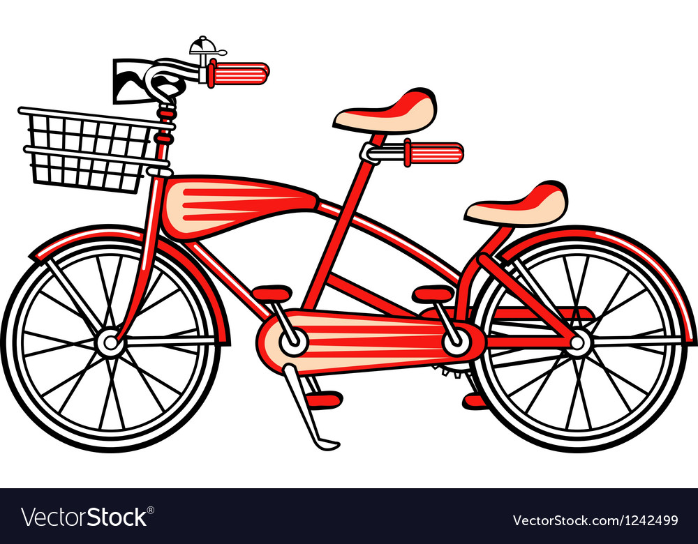 Red tandem bicycle vector