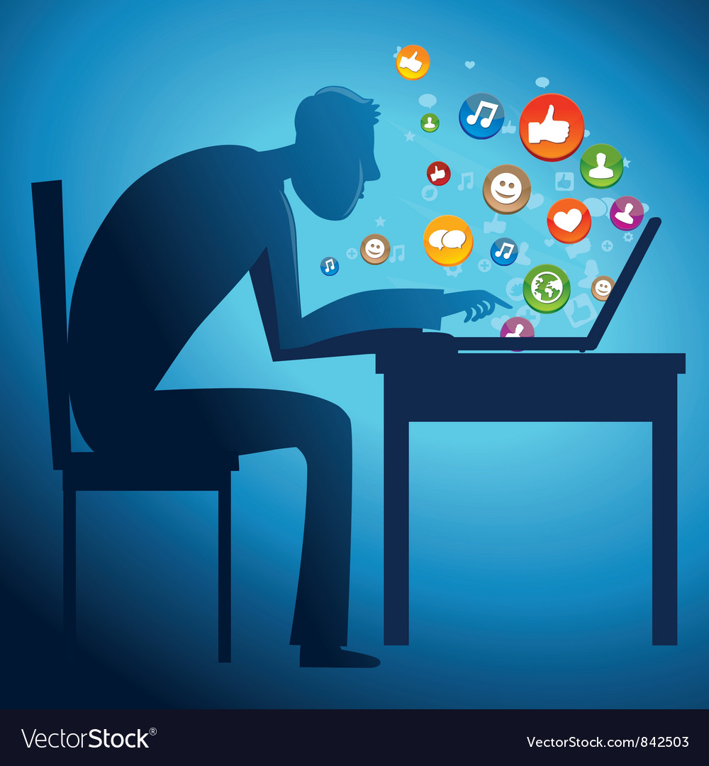 Man sitting at the table with laptop - social netw vector