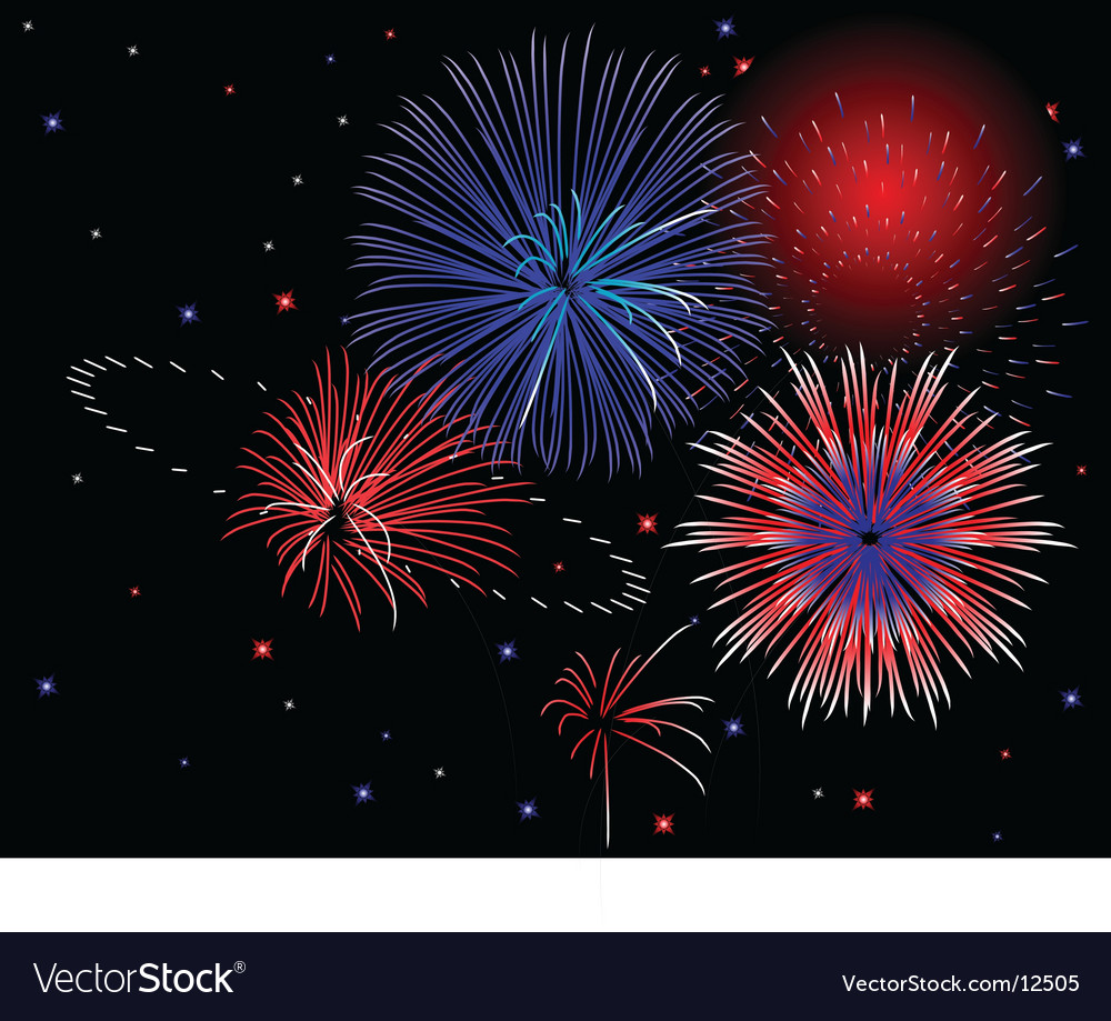 Patriotic fireworks vector