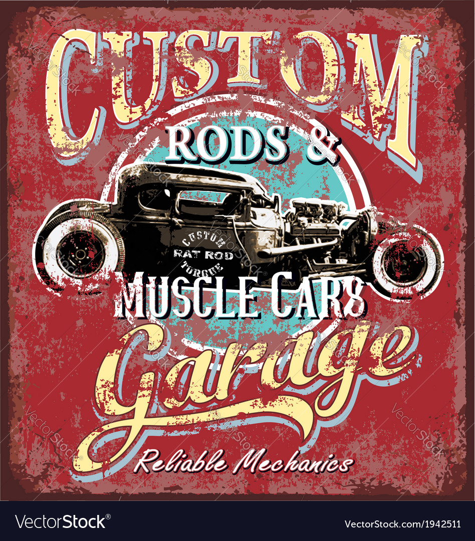 Custom rod garage vector