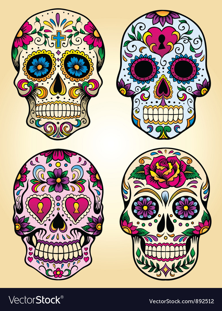 Day of the dead set vector