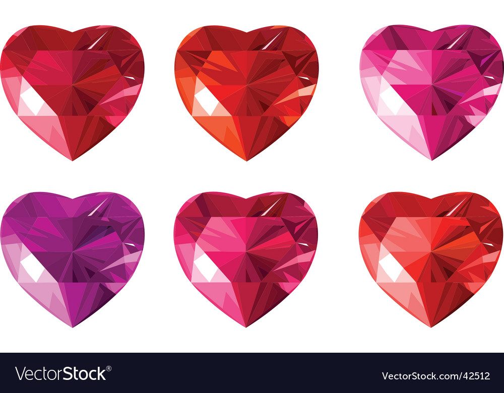 Diamond jewelry hearts vector