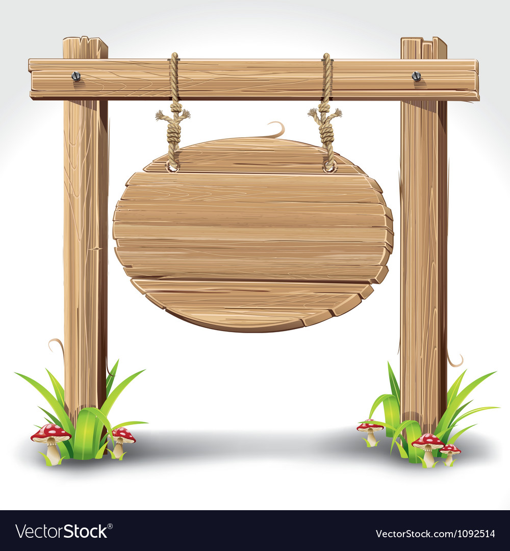 Wooden sign boarder hanging with rope vector