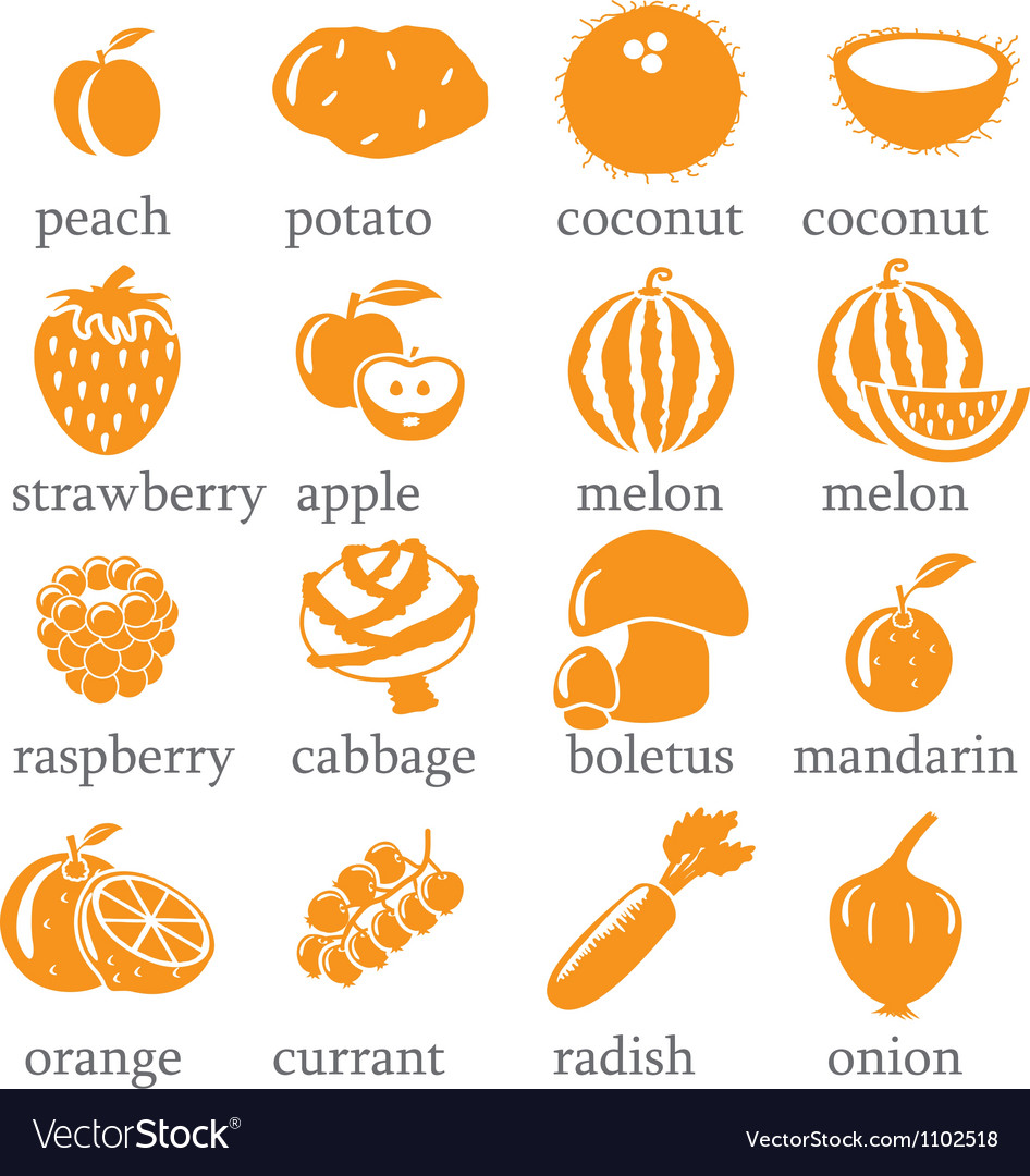 Set of fruits and vegetables icons vector