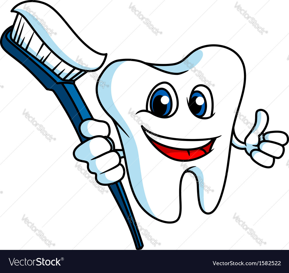 Smiling tooth with tooth-brush vector