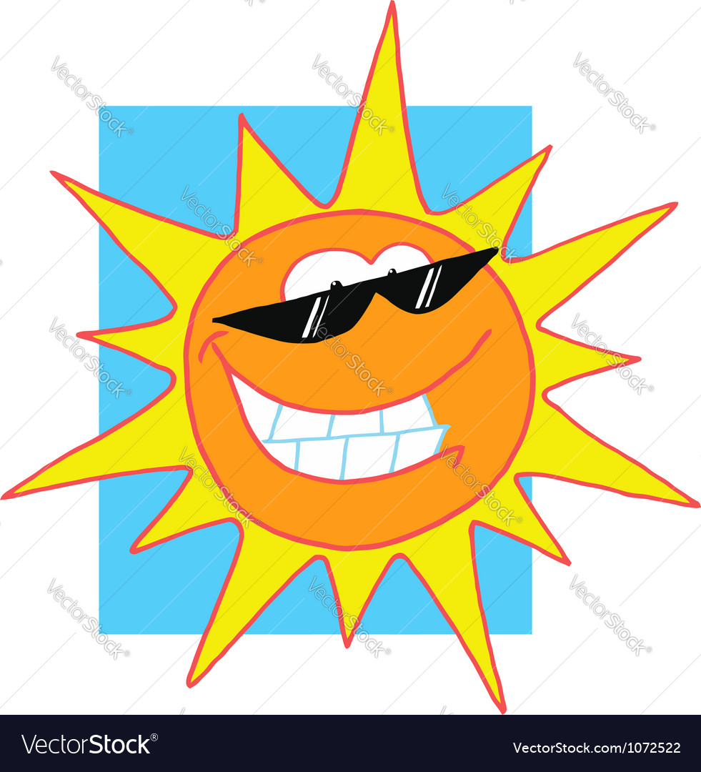 Sun cartoon character with sunglasses vector