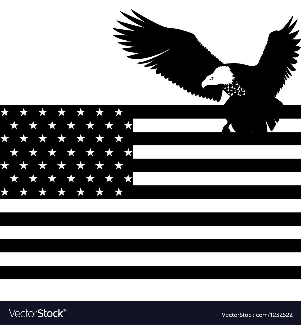 Us flag and an eagle vector